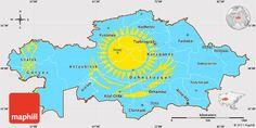 Flag Simple Map of Kazakhstan