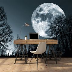 Art Illusions Forest Moon Wall Mural - for the home, wishlist and ideas Home Room Design, House Design, Design Design, Design Ideas, Bedroom Wall, Bedroom Decor, Bedroom Sets, Bedrooms, 3d Wallpaper For Walls