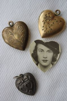 *I love collecting old lockets, it tickles my heart when I find one with a picture. I always find them in flea markets.
