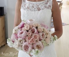 Pink and White Bouquet - Garden Roses, Stock, Hydrangea - Soiree Floral Nantucket #soireefloral