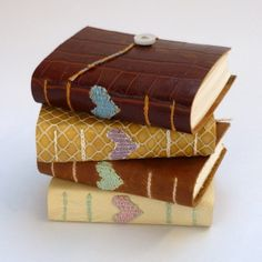 Small Leather Notebook - Woven Hearts