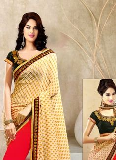 Fabfirki New Cream And Red Embroidered Designer Saree