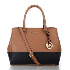 Fashion Michael Kors Sutton Color-Block Saffiano Medium Brown Black Satchels Online!