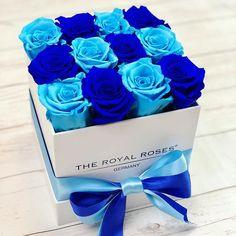 Royal Blue & Baby Blue Combination www. Blue Rose Bouquet, Bouquet Box, Rosen Arrangements, Rose Flower Arrangements, Royal Blue Centerpieces, Baby Blue Weddings, Flower Box Gift, Beautiful Rose Flowers, Candy Flowers