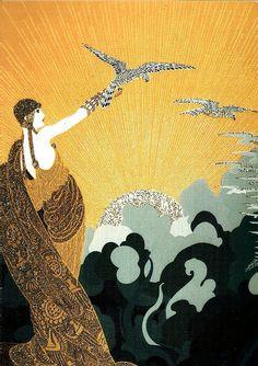 New Bridges for the Seven Seas, 1919 Cover of Harper's Bazaar Erté Art And Craft Design, Art Deco Design, Erte Art, Art Deco Posters, 23 November, 1920s Art Deco, Religious Icons, Magazine Art, Magazine Covers