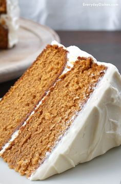 Even If Youre Not A Big Fan Of Pumpkin, This Lightly Spiced Pumpkin Layer Cake Is Worthy Of A Taste Sugar, Cinnamon, Ginger And Vanilla Tone Down The Pumpkin Flavor And The Cream Cheese Frostings Not Too Sweet. Pumpkin Layer Cake Recipe, Pumpkin Cake Recipes, Pumpkin Spice Cake, Layer Cake Recipes, Pumpkin Dessert, Dessert Recipes, Spiced Pumpkin, Layer Cakes, Pumpkin Cakes
