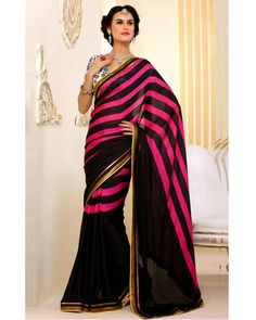 Buy Exclusive Collection of New Designer Good Looking Stylelok Pink & Black Bemberg Fashionable Saree and get Up to 38% discount.