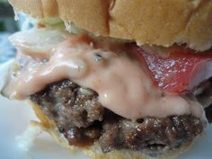 The Best Hamburger Recipe (and secret sauce). Burger:  1 lb ground beef (I used 85/15- you want a fattier meat to make a juicier burger!)  sesame seed buns  1/2 cup Monterrey jack cheese, grated  1/4 cup BBQ sauce  seasoned salt to taste  cracked black pepper  onion powder    Secret Sauce:  3/4 cup of mayo  1/4 cup ketchup  1/4 cup relish  2 tablespoons Worcestershire sauce  seasoned salt