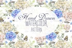6 Hand Drawn Watercolor PATTERNS by knopazyzy on @creativemarket