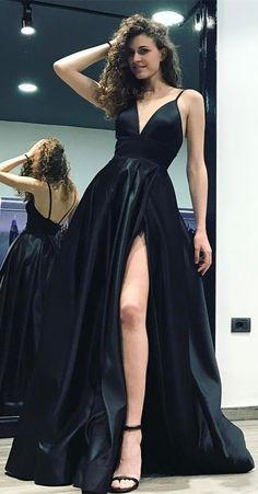 sexy v-neck spaghetti strap black prom dress with split, fashion black spaghetti strap party dress with split