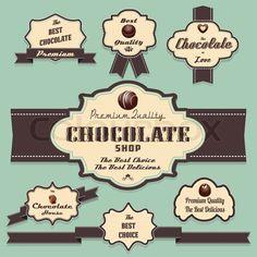 Vintage Chocolate Labels | ... und Abzeichen retro- und Vintage-Style-Auflistung, Stock-Vektor