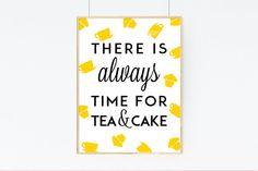 Cake Print Kitchen Art Wall Art Cupcake Print by PaperSheriff Kitchen Gallery Wall, Kitchen Wall Art, Kitchen Decor, Kitchen Ideas, Cupcake Quotes, Cupcake Art, Tea Cakes, House Warming, Art Prints