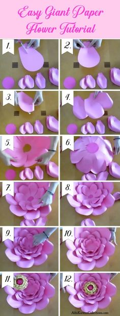 Easy giant paper flower tutorial. Printable diy large flower templates.
