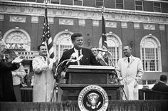 By William ALLEN. President Kennedy speaks to the crowd outside the Hotel Texas in Fort Worth, Texas., William ALLEN, photographer/Dallas Times Herald Collection, Courtesy of The Sixth Floor Museum at Dealey Plaza National Middle Child Day, John Connally, Dallas Museums, Anniversary Photography, John Fitzgerald, Photography Exhibition, John Kennedy, Us Presidents, Jfk