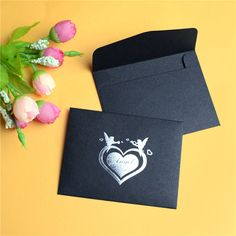 12Pcs Bronzing Kraft Paper Invitation Envelope Small Vintage Black Love Blank Wallet Gift Envelopes Card Wedding Party Supplies