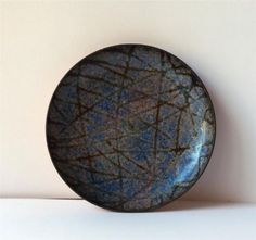 "Vintage Copper Enamel dish blue purple mod design stamped ""VNF Made in Italy"" $21.99"