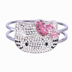Large Kitty Bangle Bracelet with Austrian Crystals $10.95