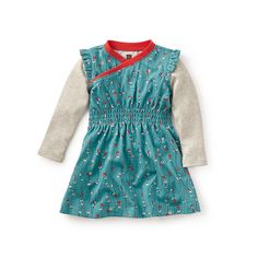 Tea CB FW15 Takara Wrap Neck Baby Dress in laguna | Takara is a Japanese girl's name that means treasure. This dress is perfect for memorable moments made for cherishing. - $35