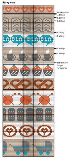Assorted Fair Isle charts (baby buggies, needles & yarn, cupcakes, pretzels, steaming coffee/teacups, etc):
