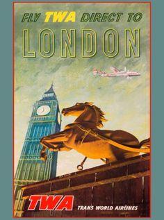 TWA-Direct-London-England-Great-Britain-Vintage-Travel-Advertisement-Poster