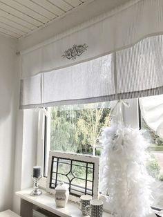 Gardinen - RAFFROLLO Gardine Shabby GESTREIFT grau o. beige/w - ein Designerstück von thewhitesuite bei DaWanda