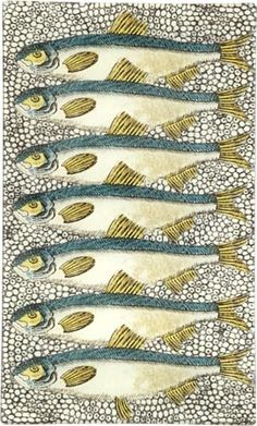 Sardines plate by John Derian. All fish individually cut out and hand-placed by decoupage artists in NYC.