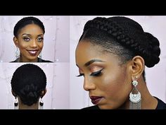 How To Goddess Halo Braids With Bun Updo Tutorial On Short Natural Hair - YouTube