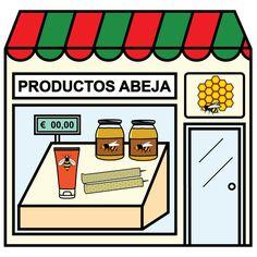 Pictogramas ARASAAC - Tienda de apicultura. Paper Doll House, Paper Dolls, Community Places, Montessori Materials, Pretend Play, Preschool, Clip Art, Teaching, City