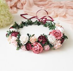 Winter Wedding Planning Tips аnd Ideas Deep Red Wedding, Burgundy Wedding Flowers, Flower Crown Wedding, Bridal Crown, Bridal Flowers, Spring Wedding, Flower Crowns, Corona Floral, Wedding Planning Tips