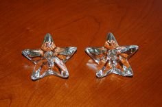 2 Cambridge Glass Star Candleholders Clear by CobblestonesVintage, $12.00