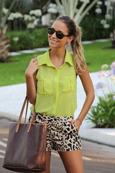 : Green shirt, chocolate bag and small short