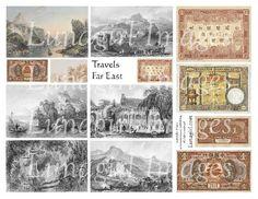 Travels FAR EAST digital collage sheet vintage images by Lunagirl (Craft Supplies & Tools, Scrapbooking Supplies, Scrapbooking Clip Art, art, collage, mixed media, altered, assemblage, ephemera, digital, paper, card, tag, antique, asian, prints)