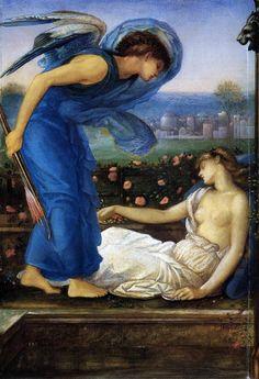 Sir Edward Coley Burne-Jones (Birmingham, 28 ago. 1833 – Londra, 17 giu. 1898), pittore britannico, Preraffaelliti - Cupido, che ha trovato Psiche