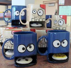 Cookie Monster Mug Milk and Cookies Dunk Mug by claytopia on Etsy, $22.00 ♥ @Abigail Barnes- you should make these!!!