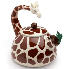 Reach for the best with this stylish giraffe kettle. This premium whistling kettle has an 80 ounce capacity, is enamel coated and can be used on induction, gas and electric stoves. Giraffe Mug, Giraffe Decor, Cute Giraffe, Giraffe Print, Gas And Electric, How To Make Tea, Kitchen Gadgets, Tea Time, Home Accessories