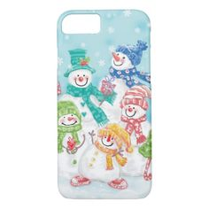 Cute Christmas Snowman Family in the Snow iPhone 8/7 Case