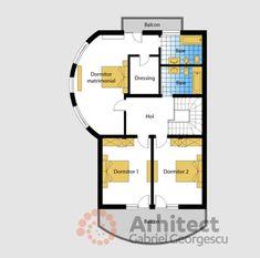 Casa cu etaj 69 | Proiecte de case personalizate | Arhitect Gabriel Georgescu & Echipa Modern House Facades, Modern House Design, Modern Architecture, Cute House, Facade House, Design Case, House Plans, Floor Plans, How To Plan