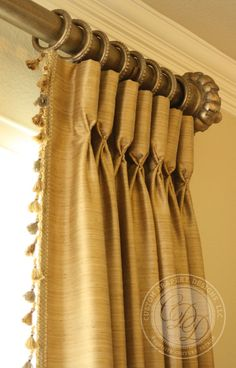 Lovely Goblet Pleat Draperies with Decorative Hardware by Custom Drapery Designs, LLC. Drapery Styles, Drapery Designs, Home Curtains, Curtains With Blinds, Store Bateau, Drapery Panels, Curtain Pelmet, Valance, Custom Drapes