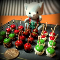 miniature candied apples for halloween .tutorial