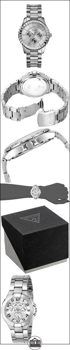 Guess W13582L2 - Reloj analógico de cuarzo para mujer con correa de acero inoxidable, color plateado  ✿ Relojes para mujer - (Gama media/alta) ✿