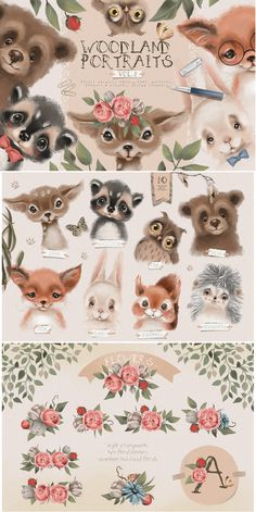 Woodland Portraits - Second volume of beautiful forest animals portraits, whimsy font, tileable patterns, flowers & wreaths, design elements & more! Watercolor Illustration, Graphic Illustration, Watercolor Art, Woodland Illustration, Cute Animal Illustration, Forest Animals, Woodland Animals, Animal Drawings, Cute Drawings