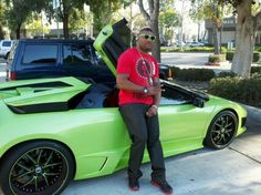 Rampage Jackson with his Lamborghini LP640 Spyder