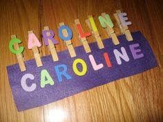 Name Activities: Name Game: Clothespins Felt And Foam Letters. Would Make These With Lowercase Letters. Preschool Names, Name Activities, Toddler Learning Activities, Alphabet Activities, Fun Learning, Preschool Activities, Activities For 3 Year Olds, Free Preschool, Childhood Education