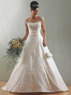 Scoop A-line/Princess rmlös Satäng Bärlbroderi Sweep Släp Wedding Dresses
