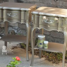 Metallic Painted French Provincial Nightstands