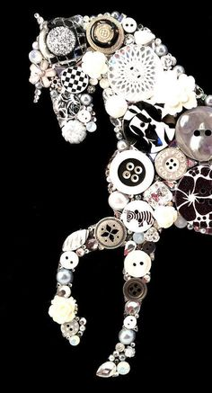Vintage Jewelry Art HORSE 170 Black/white Button Art Button by CherCreations - -Art pictured above is made Fun Crafts, Diy And Crafts, Crafts For Kids, Arts And Crafts, Diy Buttons, Vintage Buttons, Vintage Jewelry Crafts, Jewelry Art, Gold Jewelry