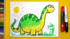 Как нарисовать Динозавра (БРОНТОЗАВР) | Урок рисования для детей от 3 лет