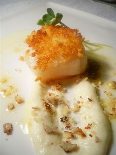 Panko Scallop With Sunchoke Puree And Brown Butter