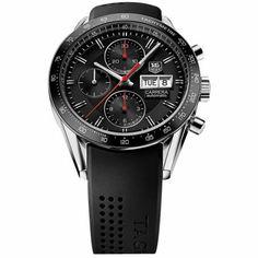 http://www.horloger-paris.com/fr/407-tag-heuer-carrera  Tag Heuer Carrera Calibre 16 DayDate - 41mm - Cadran noir / bracelet caoutchouc / aiguilles rouges : CV201AH.FT6014
