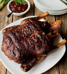 Pulled Duck with Sririacha plum sauce - The easiest way to make, slow-cooked, fall apart duck with crispy skin.
